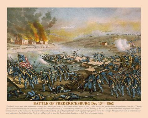 Fine art print of the American Civil War of the Battle of Fredericksburg Dec 13th 1862